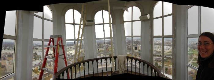 A panorama of the inside of the cupola