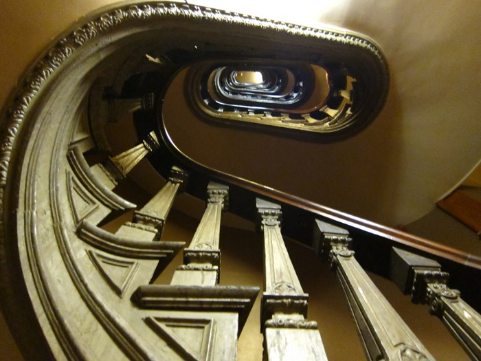 The stairs going up to the first level of the dome