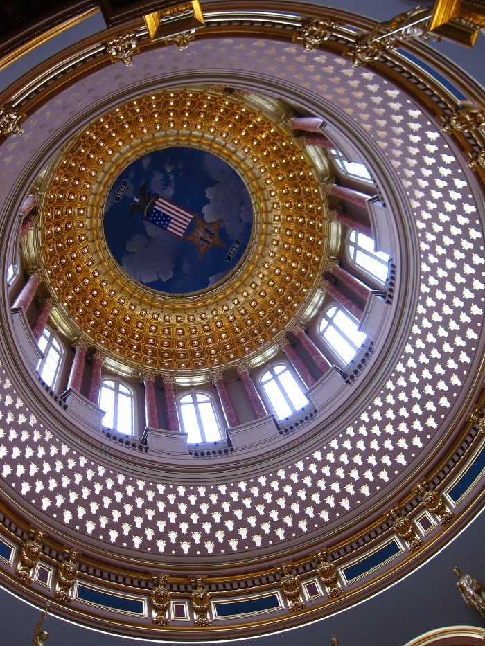 Looking up at the dome from the ground floor